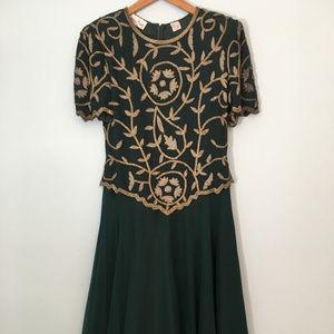 Green & Gold After Five Dress